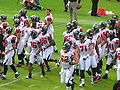 Falcons on field pregame at Atlanta at Oakland 11-2-08 1.JPG