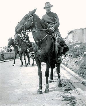 Origins of Falkland Islanders - An Islander mounted in typical Falklands style with the usual gaucho horse gear, c. 1936.