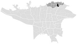 محل فرمانیه (سیاهرنگ) در منطقه ۱ شهر تهران (خاکستری).