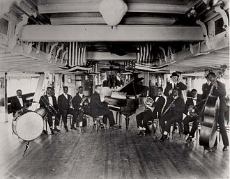 Louis Armstrong - Armstrong was a member of Fate Marable's New Orlean's Band in 1918, here on board the S.S. Sidney