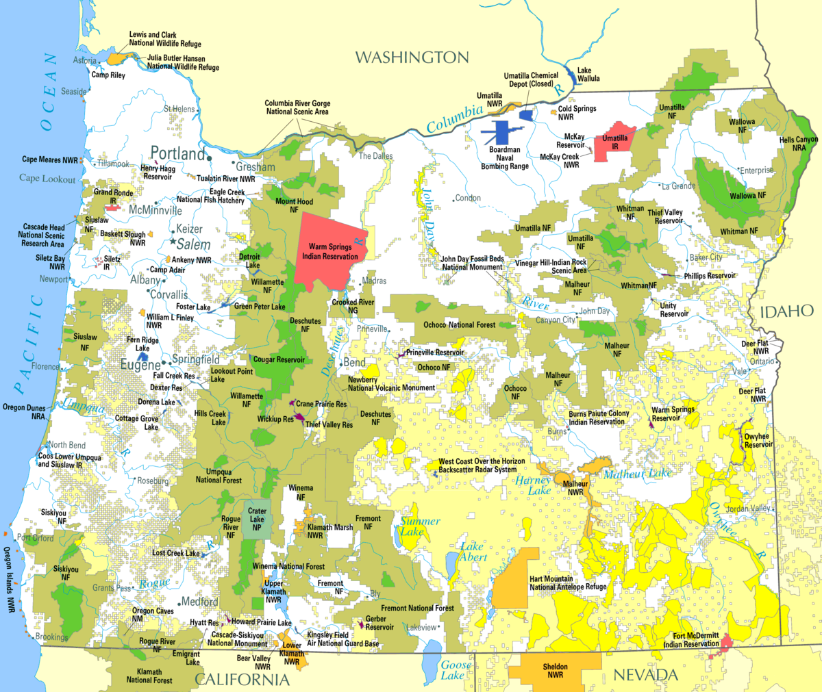 Land Use In Oregon Wikipedia Federal Government Lands In The Us Map