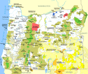 Land use in Oregon - Image: Federal lands in Oregon