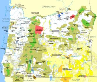 Land use in Oregon - Image: Federal lands in Oregon