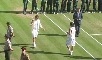 Federer–Nadal rivalry - Federer celebrates his eighth Grand Slam title after a win over Nadal.