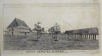 George Luther Kapeau - Wailuku Female Seminary, drawn by Edward Bailey, engraved by Kapeau, ca. 1840.