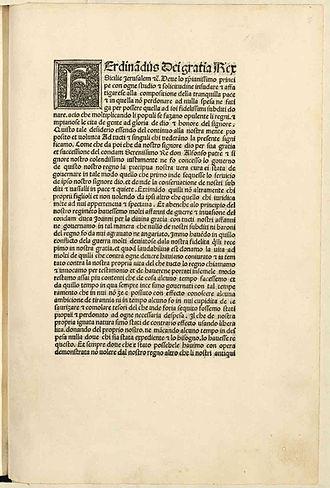 Ferdinand I of Naples - Esortazione di insorgere contro i baroni ribelli, 1486