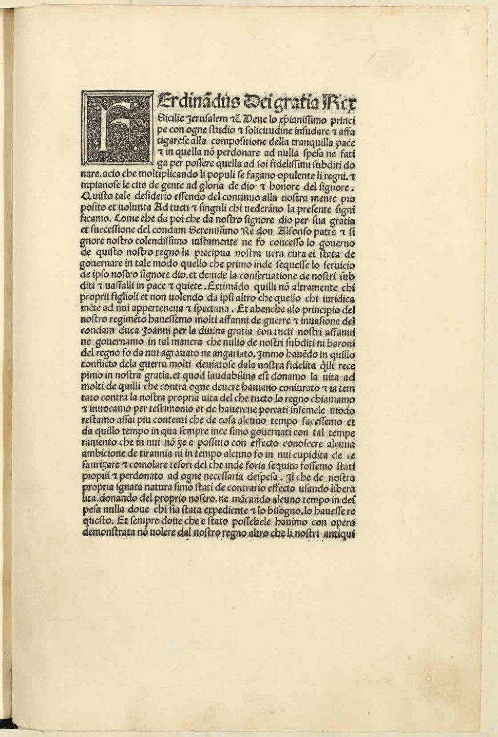Ferdinando - Esortazione di insorgere contro i baroni ribelli, circa 1486 - 2391599