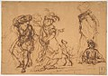 Five Figures in Fantastic Costumes with Two Dogs MET DP811524.jpg
