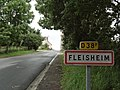 Fleisheim (Moselle) city limit sign.jpg