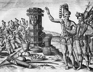 History of Florida - Timucua Indians at a column erected by the French in 1562