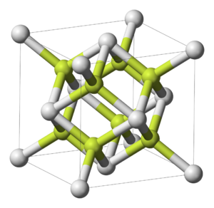 Polonium dioxide - Unit cell of cubic polonium dioxide (white = Po, yellow = O)