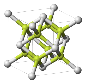 Polonium dioxide - Unit cell of cubic polonium dioxide (white = Po, yellow = O)