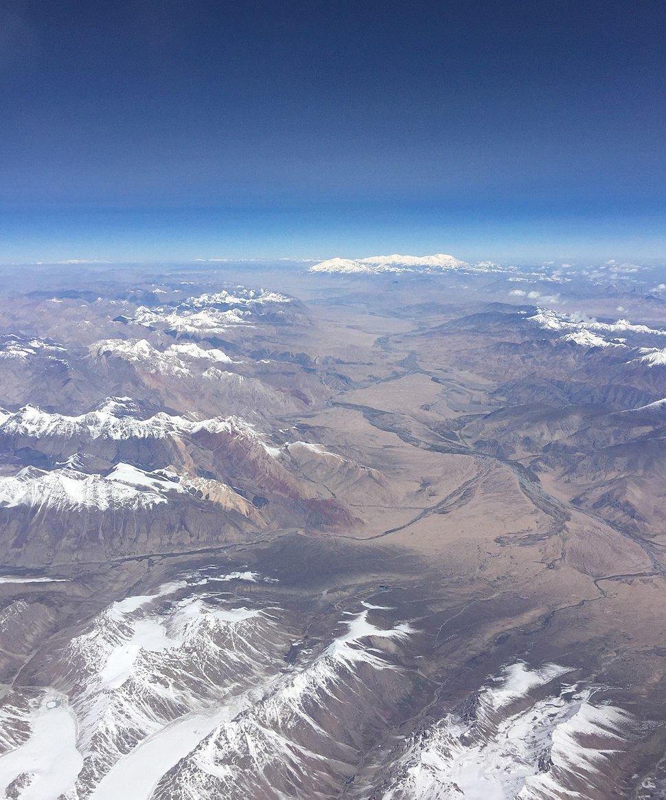 Fly over Pamir Mountains and Karakoram Highway