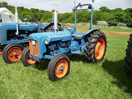 Rollover protection bar retrofitted to a mid-20th century Fordson tractor Ford Tractor with ROPS bar fitted.JPG