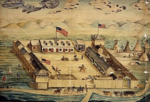 Watercolor drawing of Fort Pierre Chouteau. Dated 1854.