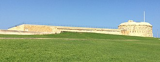 Fort Tigné - The fort's left flank and keep as seen from its glacis