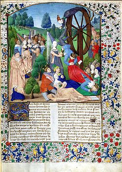 "From an edition of Boccaccio's ""De Casibus Virorum Illustrium"" showing Lady Fortune spinning her wheel."