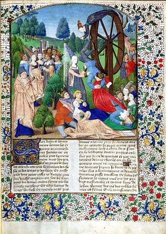 Rota Fortunae - From an edition of Boccaccio's De Casibus Virorum Illustrium showing Lady Fortune spinning her wheel.