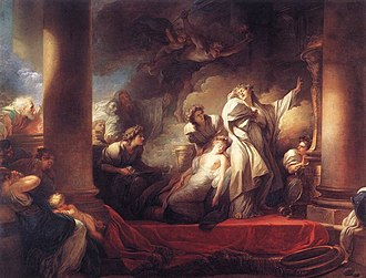 Callirhoé - The High Priest Coresus Sacrificing Himself to Save Callirhoe (1765) by Jean-Honoré Fragonard (1732–1806)