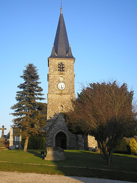 Domjean (Normandie, France). L'église Saint-Jean-Baptiste.