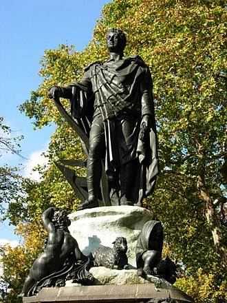 Bedford Estate - Francis Russell, 5th Duke of Bedford, statue by Richard Westmacott in Russell Square on the Bedford Estate.