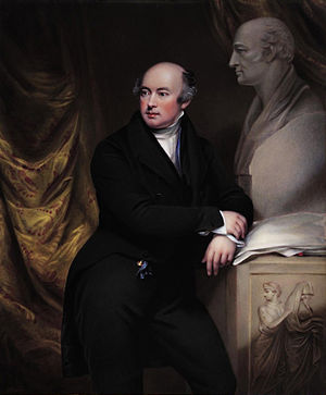 Francis Leggatt Chantrey - Portrait of Chantrey standing next to a bust of William Hyde Wollaston, 1831, by Henry Bone after John Jackson
