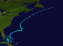 Map plotting the track and intensity of the storm, according to the Saffir-Simpson scale Franklin 2005 track.png