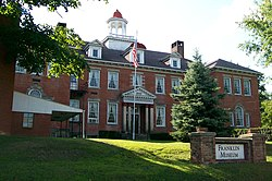 The Franklin College Building in New Athens is listed on the National Register of Historic Places