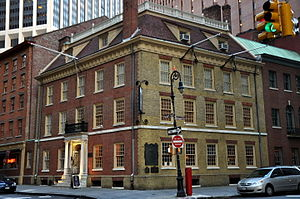 "Committees of correspondence - Fraunces Tavern in Lower Manhattan, meeting place of the ""Committee of Fifty"" on May 16, 1774"