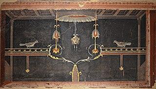 Fragment de peinture murale : effets de perspective architecturale