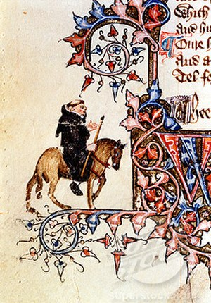 Double negative - The Friar from the Ellesmere Manuscript of Chaucer's The Canterbury Tales
