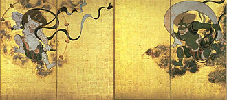 Raijin - Fūjin-raijin-zu by Tawaraya Sōtatsu, with Raijin shown on the left and Fūjin right.