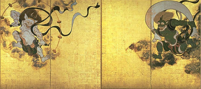 Fūjin-raijin-zu by Tawaraya Sōtatsu, with Raijin shown on the left and Fūjin right. Fujinraijin-tawaraya.jpg