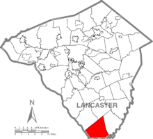 Map of Lancaster County, Pennsylvania highlighting Fulton Township