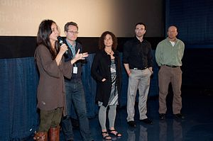 Blackfish (film) - Director Gabriela Cowperthwaite, Thom Powers, former SeaWorld trainers Samantha Berg and John Jett at the Miami International Film Festival presentation of Blackfish at the Regal South Beach on March 3, 2013