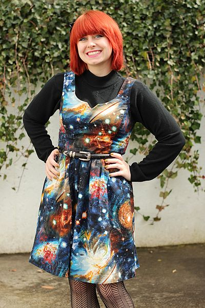 File:Galaxy Print Dress Layered Over a Black Mock Neck Sweater (17096933736).jpg