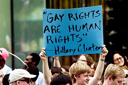 """Gay Rights are Human Rights"", a quote by Democratic Secretary of State and Senator from New York Hillary Clinton Gay Rights are Human Rights (5823033786).jpg"