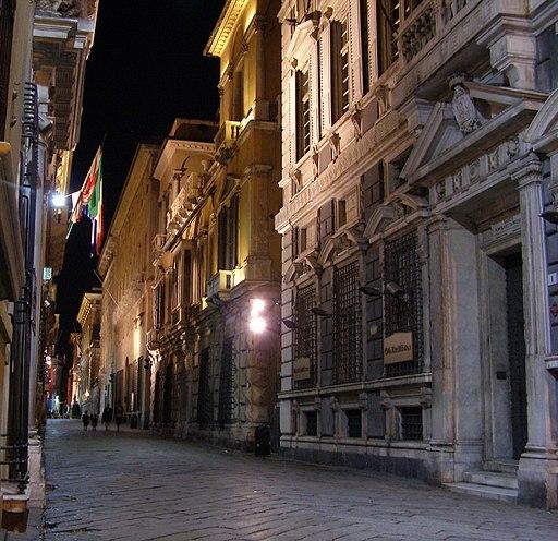 Genova Via Garibaldi noc