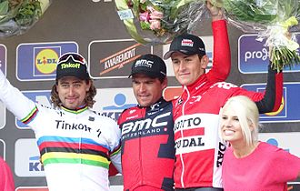 Podium of the race: Peter Sagan, Greg Van Avermaet and Tiesj Benoot