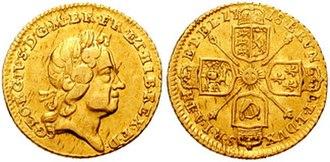 Guinea (coin) - George I: Quarter guinea (1718)