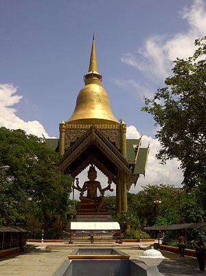 Brahmā (Buddhism) - Gold covered Phra Phrom statue at Sanggar Agung, Surabaya, Indonesia. He is known as Brahmā Sahāmpati in the Thai tradition.