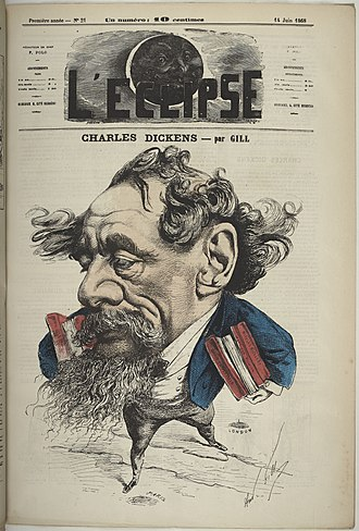L'Éclipse - Charles Dickens by André Gill Hand-colored engraving published in L'Eclipse newspaper, 14 June 1868.  Dickens crosses the English Channel, carrying his books from London to Paris.