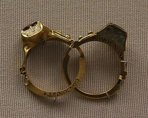 Wedding ring - Gimmel ring with the hoop opened, in the British Museum