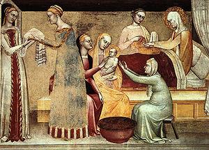 Giovanni da Milano - Birth of the Virgin, Rinuccini Chapel, Santa Croce, Florence