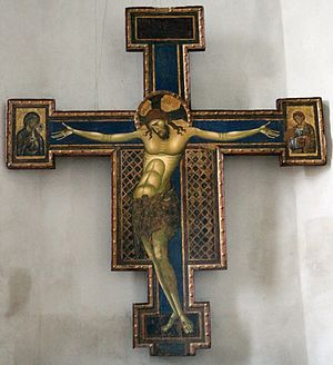 Crucifix (Cimabue, Arezzo) - Giunta Pisano's painted crucifix of c 1250-52, now in Bologna, Northern Italy, was a basis for Cimabue's work