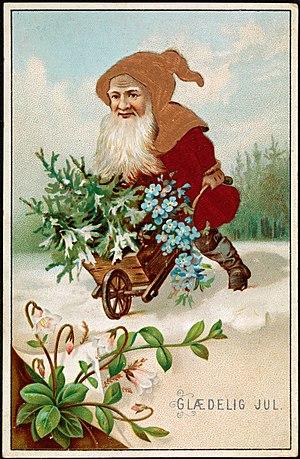 Nisse (folklore) - Nisse on Christmas Card (1885)