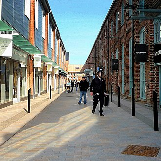 Gloucester Quays - A shopping outlet area which has been incorporated with the old warehouses in Gloucester Docks