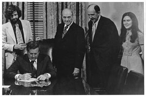 George Mason University - Governor A. Linwood Holton signs H‑210 separating George Mason College from the University of Virginia, April 7, 1972