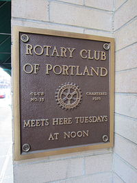Governor Hotel, Rotary Club of Portland plaque.JPG