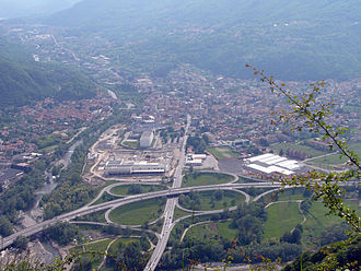 Autostrada A26 (Italy) - The cloverleaf junction at Gravellona Toce